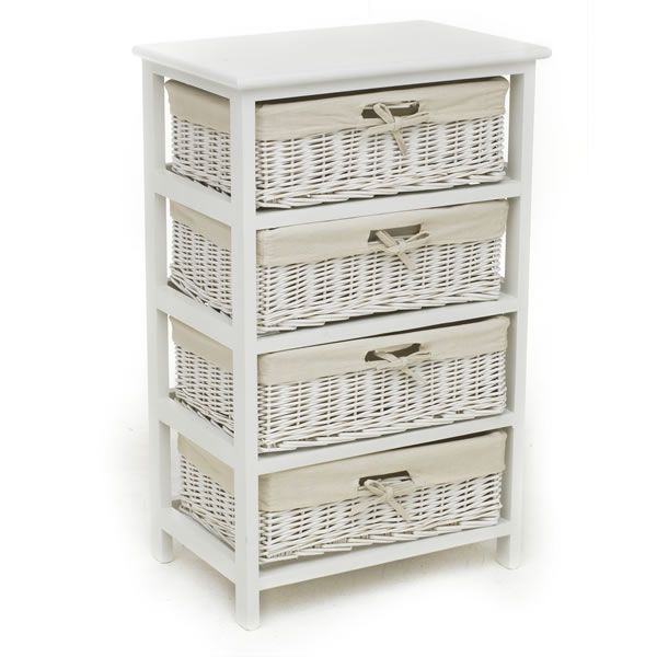 Storage Unit White 4 Drawer