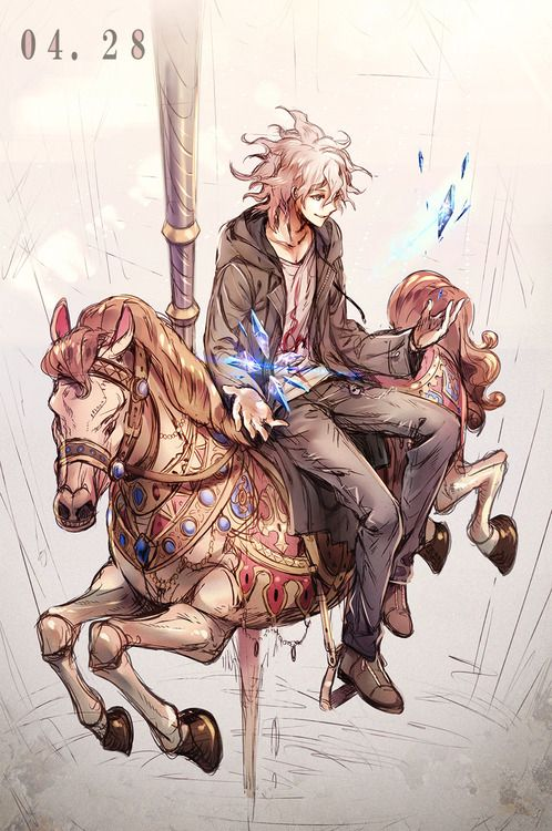 cute anime guy in a merry go round :)