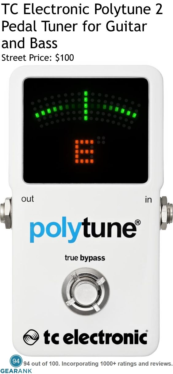 TC Electronic Polytune 2 Pedal Tuner for Guitar & Bass. Tuning Accuracy: Strobe Mode 0.1± cent, Chromatic Mode 0.5± cent. Tuning Range: For guitar and bass. Reference Pitch: A4 = 435Hz to 445Hz. Tuning Modes: Strobe and Chromatic (used for Polyphonic tuning). For a detailed guide to Guitar Tuners see https://www.gearank.com/guides/guitar-tuners