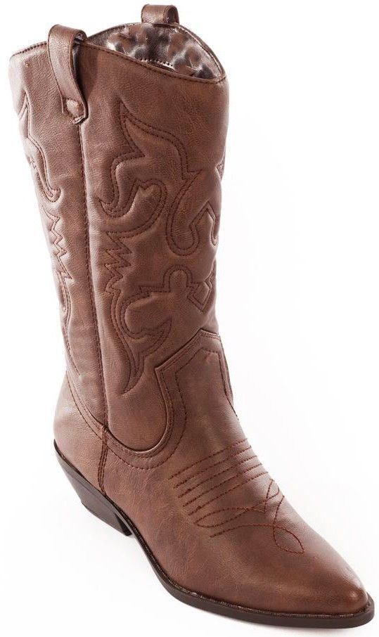 Soda Women Cowgirl Cowboy Western Stitched Boots Pointy Toe Knee High Brown Reno