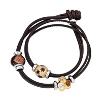 Amore & Baci gold/brown leather barcelet