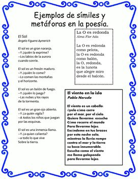 El lenguaje figurado en la poesía- Spanish figurative language with plenty of examples of each! Similes, metaphors, onomatopoeias and more. Good exemplars to show to class or use as an activity for students to highlight.