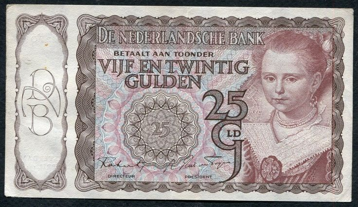 25 GULDEN FROM NETHERLAND 5.4.1944 XF+