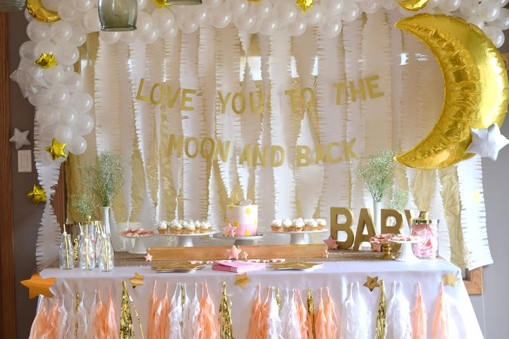 """""""I love you to the moon and back"""" moon and star baby shower styled by @glitterandgluepartyboxes #madewithmichaels"""