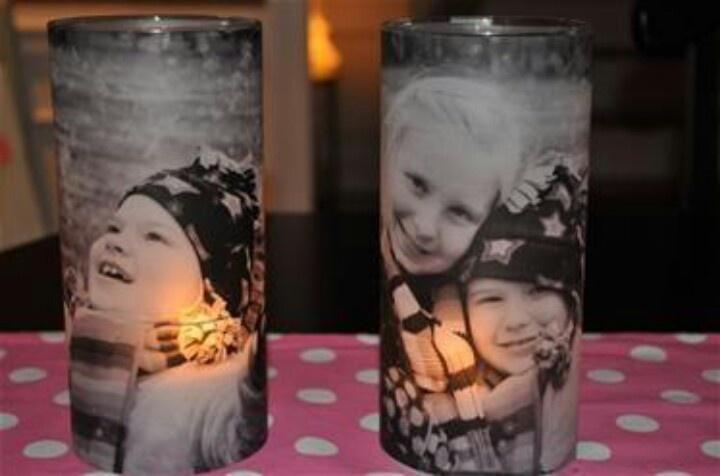 Dollar Tree vases + printed photos on vellum + modge podge + tea light candle. Great grandparent/ family gifts.(via flea's knees)