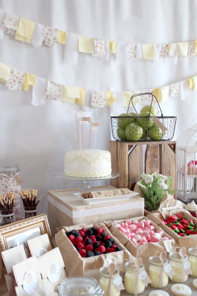 "Sweet Spring Birthday Party - love the ""fruit"" baskets with candy"