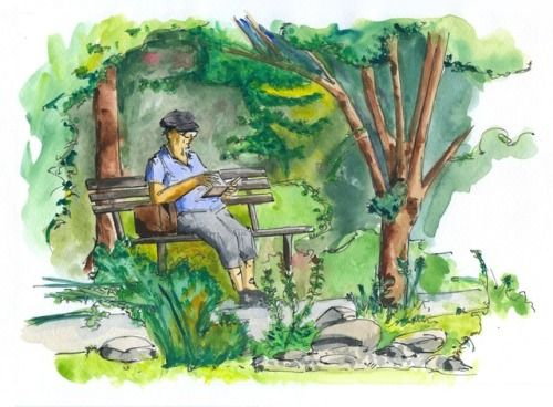 October 22, 2017. Sketches from summer II: Reading in botanical garden. Ink, watercolor.