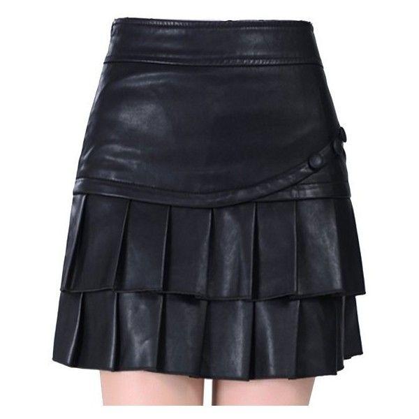 Helan Women's High Waist PU Leather Pleated Ruffles Skirt (245 CNY) via Polyvore featuring skirts, frill skirt, frilly skirt, high-waist skirt, leatherette skirt and flounce skirt