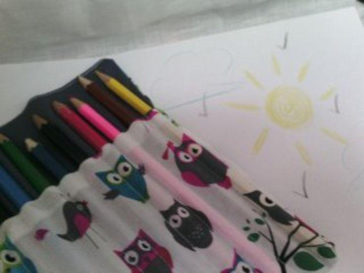 Pochette crayons de couleurs - trousse pour enfants - MademoiselleMarie - Fait Maison