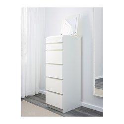 IKEA - MALM, Ladekast met 6 lades, wit/spiegelglas, , Ingebouwde spiegel.Praktische opbergoplossing van alles van sieraden tot ondergoed.De met vilt beklede ladeinzet houdt je sieraden op hun plaats.De lade is makkelijk te openen en te sluiten. Met blokkeerstuk.