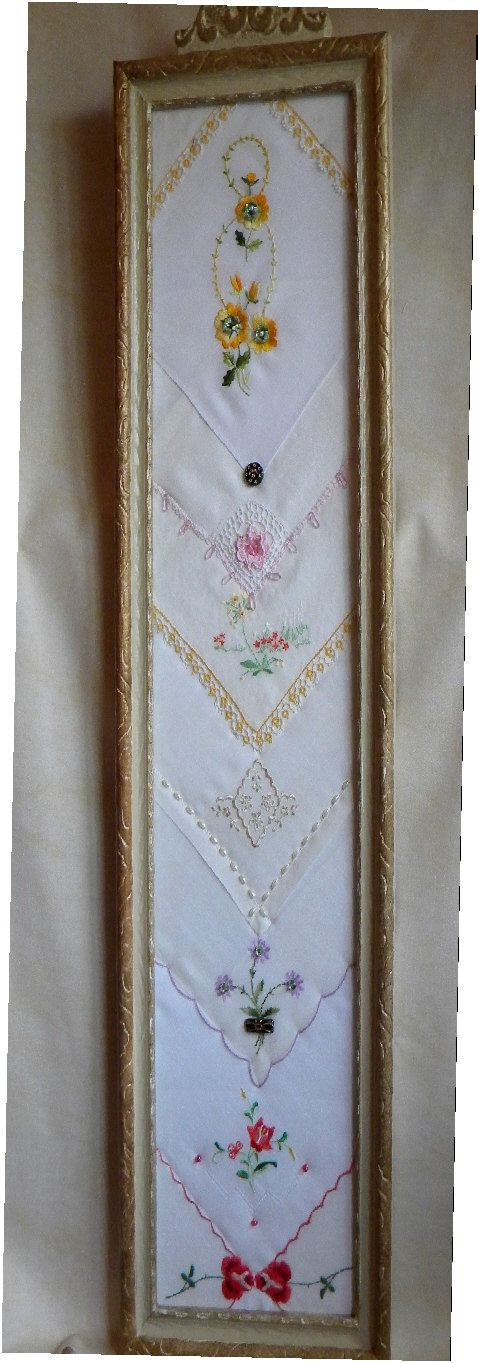 Antique Spite Frame containing a Sampler of by twinlyonsgiftshop, $79.95 WOW!  A perfect idea to display vintage hankies