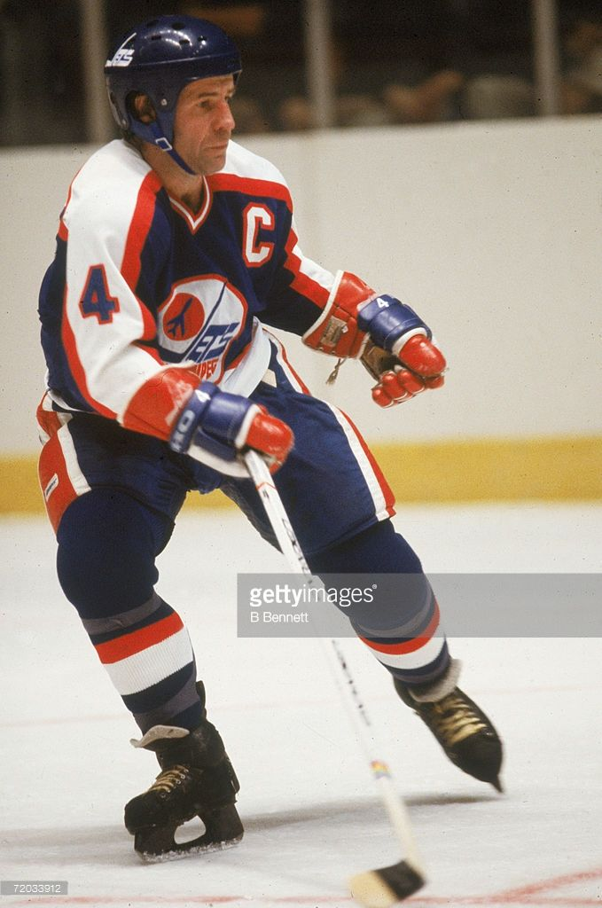 Swedish professional hockey player Lars-Erik Sjoberg (1944 - 1987), defenseman for the Winnipeg Jets, on the ice during a game with the New York Rangers at Madison Square Garden, New York, New York, November 1979.