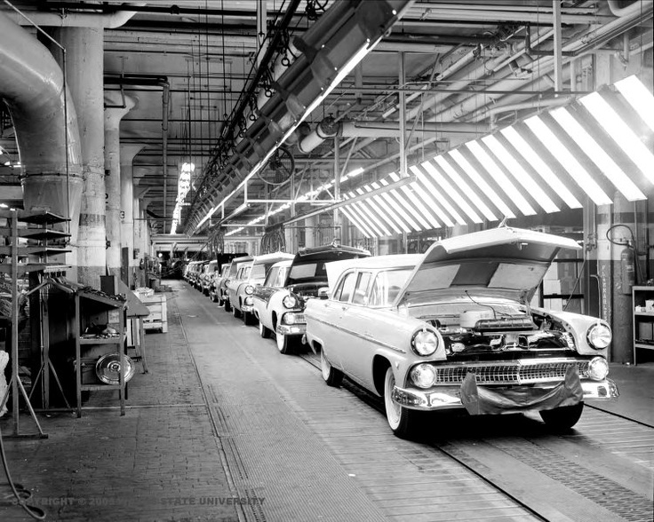 114 best images about old american car factory photos on for Motor city assembly line