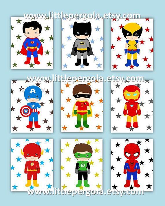 "Superhero Art Prints 8X10"" CHOOSE Five, set of (5) five prints, cute for a little superhero nursery, Boys Art on Etsy, $70.00"