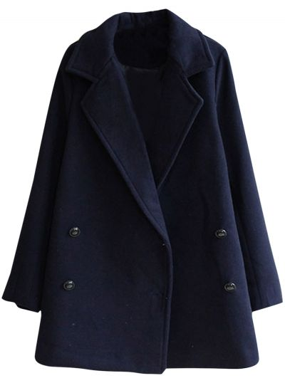 Women's Fashion Notched Lapel Double Breasted Pea Coat - OASAP.com