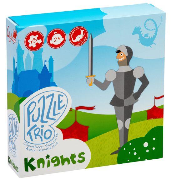 TRÍO DE PUZZLES CABALLEROS 3 puzles de 4, 6 y 9 piezas en una caja hermosa y duradera (23x23x6cm) con diseños encantadores para pequeñas mentes curiosas #puzlesecologicosinfantiles #Glottogon http://www.babycaprichos.com/trio-de-puzzles-caballeros.html