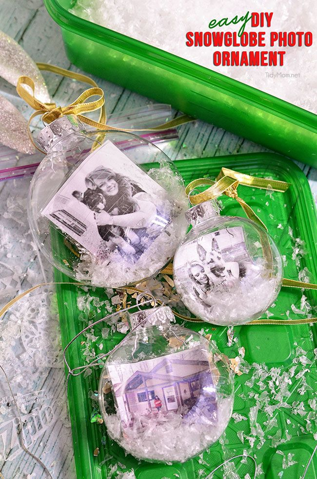 Homemade Snowglobe Photo Ornament is a fun easy project and will make a wonderful personalized gift, addition to any tree or tie one onto a gift for extra special gift wrapping at TidyMom.net