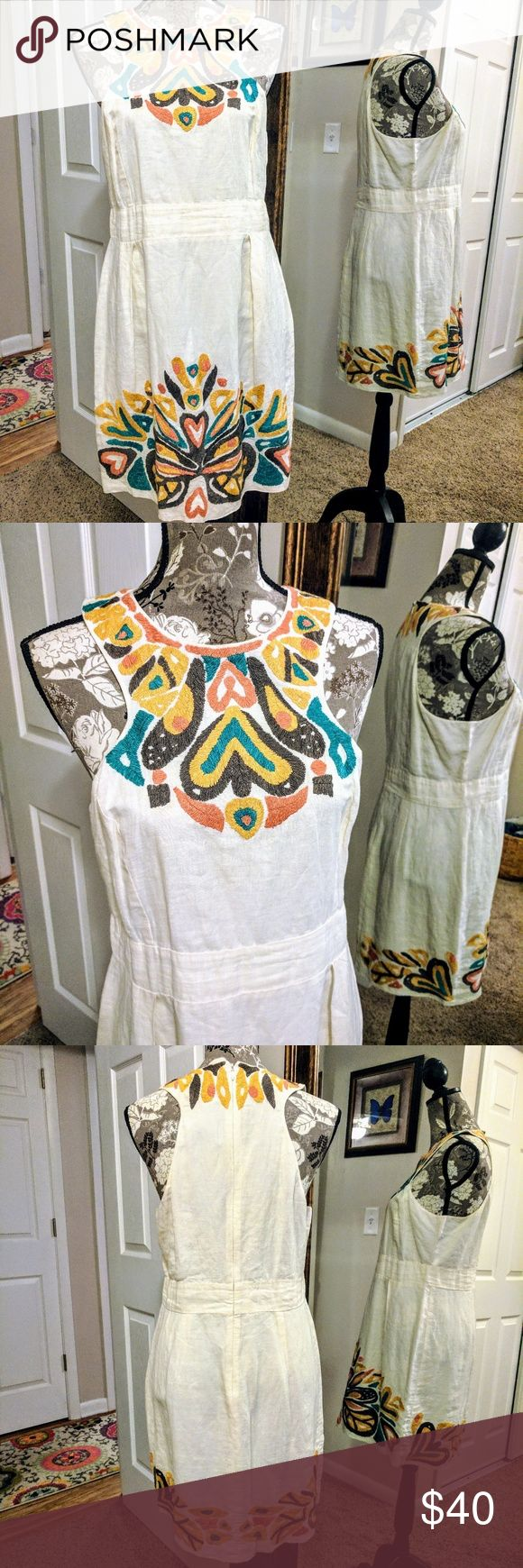 French Connection Embroidered Linen Dress Cream linen dress with colorful embroidery. UK size 10 which is about an 8 US French Connection Dresses