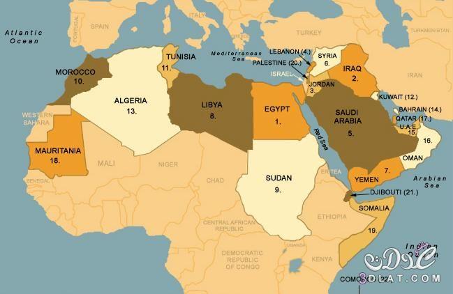 خريطة الوطن العربي الجديدة ملونة وصماء صور متعدده لخرائط الوطن العربي Arab World Arab Culture World Political Map