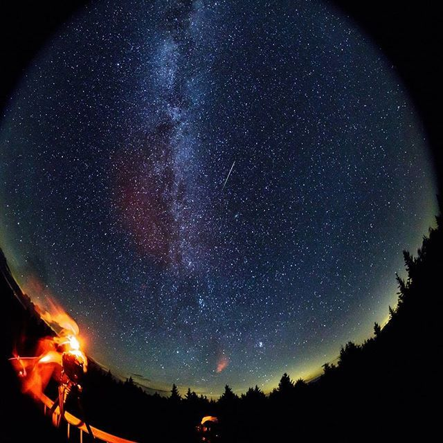 explorenasa In this 30 second exposure taken with a circular fish-eye lens, a meteor streaks across the sky during the annual Perseid meteor shower as a photographer wipes moisture from the camera lenses Friday, August 12, 2016 in Spruce Knob, West Virginia.  Credit: NASA/Bill Ingalls  #NASA #Perseid #meteorshower #fisheye #space #starstuff  2017/01/05 10:12:48