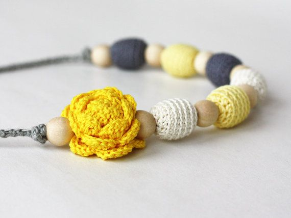 Nursing necklace Yellow grey jewelry with flower Floral necklace Baby shower gift For new mom Breastfeeding accessory ohtteam on Etsy, $22.00