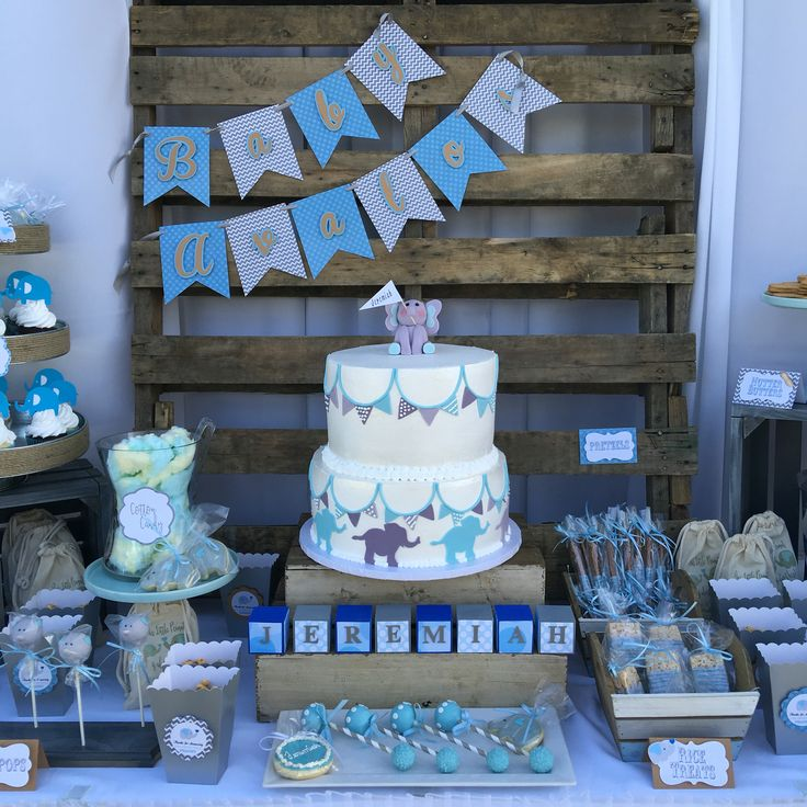 Rustic blue and gray elephant baby shower theme