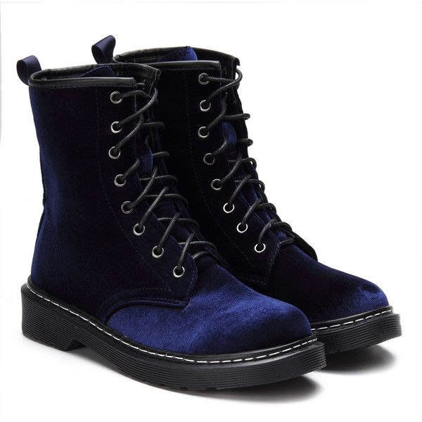 Yoins Navy Velvet Lace-up Design Short Boots ($54) ❤ liked on Polyvore featuring shoes, boots, ankle booties, navy, bootie boots, navy blue ankle boots, lace up boots, ankle boots and round toe ankle boots
