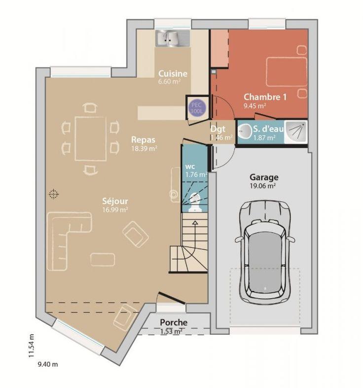 Les 25 meilleures id es de la cat gorie plan maison 90m2 for Construire maison 94