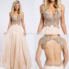 Sexy Backless 2016 Hot Long Prom Dresses Youthful A-Line Chiffon Party Dress V-Neck Formal Gowns Hollow Sleeveless