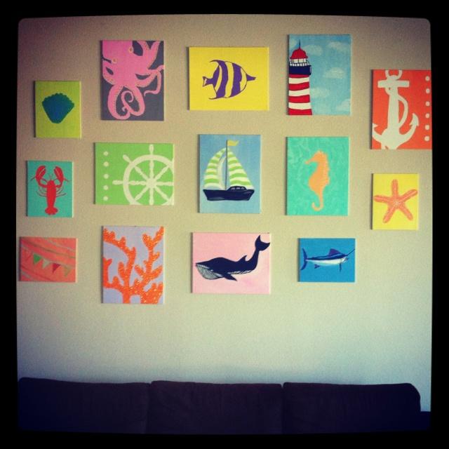 canvas art, sailboat, lighthouse, whale, octopus, anchor, nautical, pastel