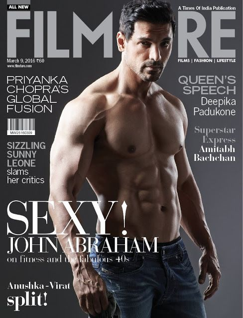 John Abraham flaunts his Hot-Bod on Filmfare's latest cover. http://www.bollywoodnentertainment.com/2016/02/john-abraham-flaunts-his-hot-bod-on.html