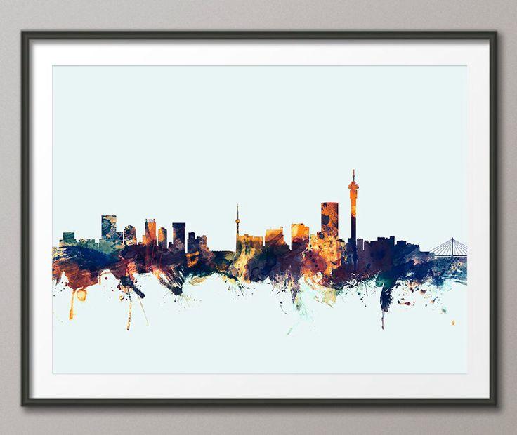 Johannesburg Skyline, Johannesburg South Africa Cityscape Art Print (1759) by…