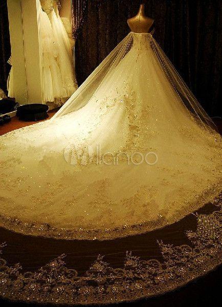 Glittery White Strapless Applique Organza Wedding Dress For Bride - Milanoo.com