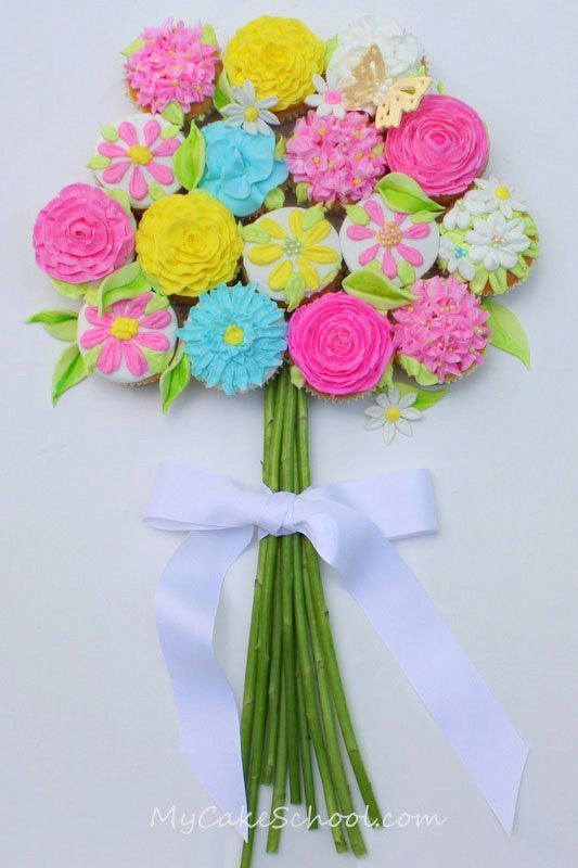 Bouquet of Cupcakes Tutorial--I love buttercream flowers, and this cupcake design is the perfect excuse to make a bunch of them.  It is a design that works well for just about any occasion, but seems especially fitting for spring!