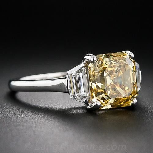 3.65 Carat Asscher-Cut Fancy Deep Orangy Yellow Diamond Ring - Art Deco Jewelry - Shop for Jewelry