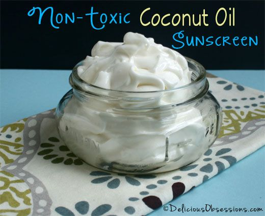 Homemade Non-Toxic Coconut Oil Sunscreen Recipe--For the times I'm out in the sun longer than just pure coconut oil will do