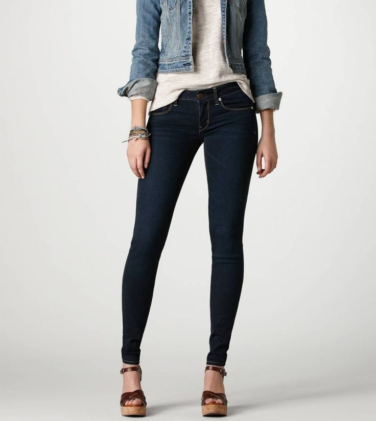 Super dark wash skinny jeans from American Eagle. They go with ...