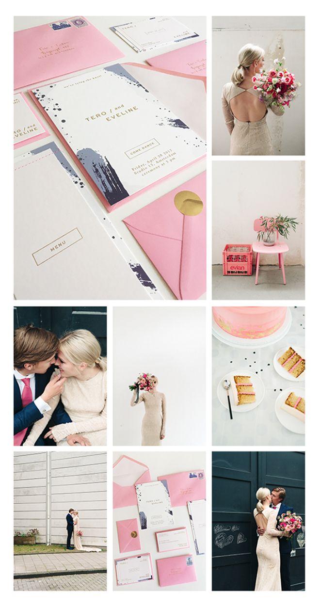 gestikte huwelijksuitnodigingen met goudfolie, gent, oost-vlaanderen, belgië, stijgend wedding invitations with gold foil, pink, roze, goud, gold