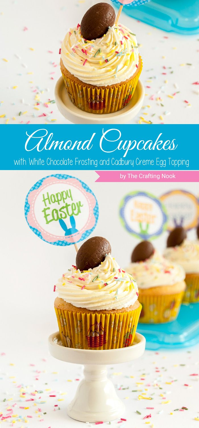 I made these super cute and yummy white chocolate almond cupcakes with Cadbury Creme Eggs on top =D  to celebrate Easter. Delicious right?. Isn't it fun to celebrate seasons with delicious recipes?