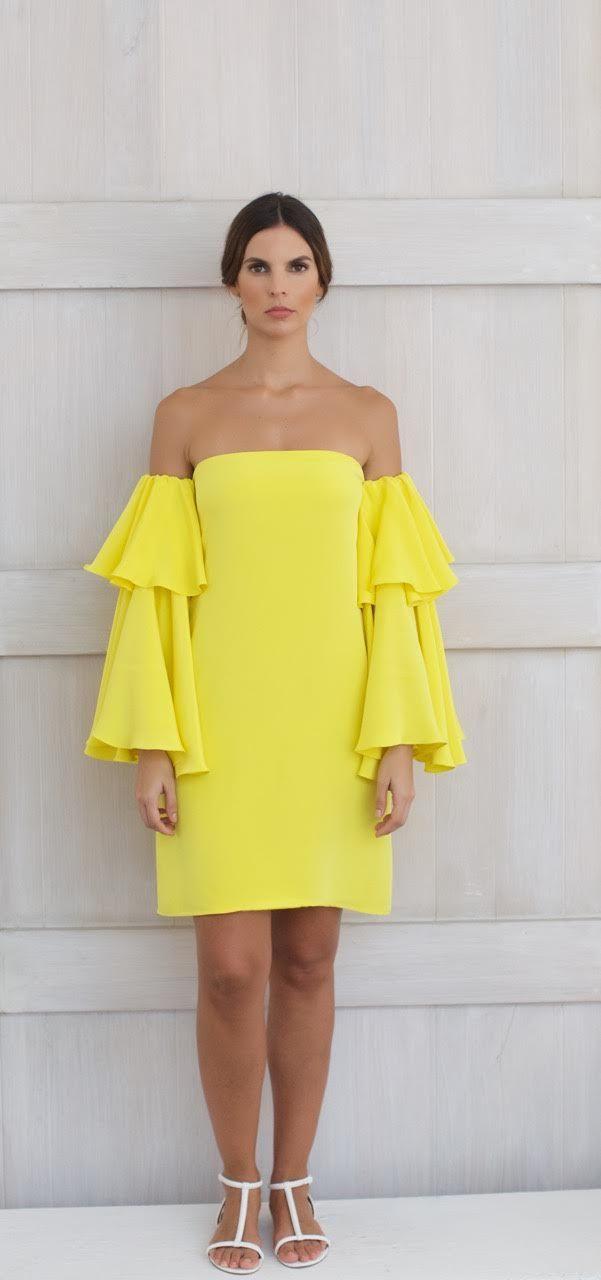 Alejandra Isaac Resort 2016 Collection Paulette Dress- off the shoulder, long sleeve, short version, 100% silk Yellow