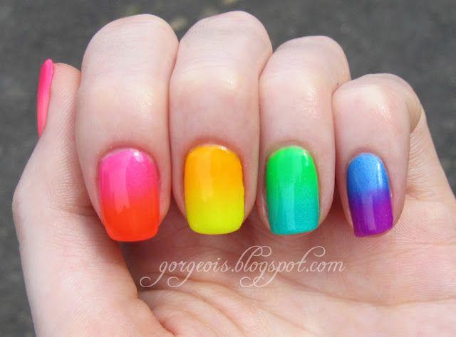 Fun Rainbow Nails: Nailart, Neon, Nail Designs, Rainbows, Summer Nails, Rainbow Nails, Nail Art