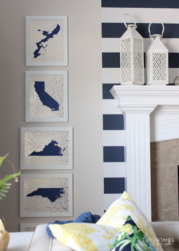 DIY State Silhouette Artwork - show everywhere you've been stationed!