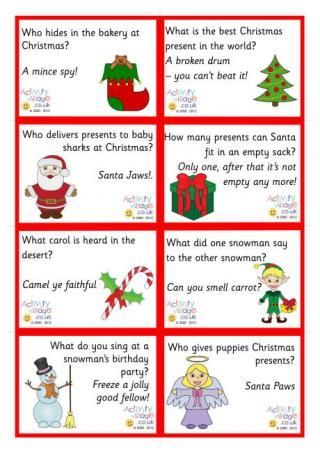 Christmas Lunch Box Jokes---and other holidays Halloween, Easter, Thanksgiving