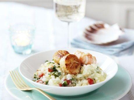 Krämig risotto  med grönsaker och skaldjur