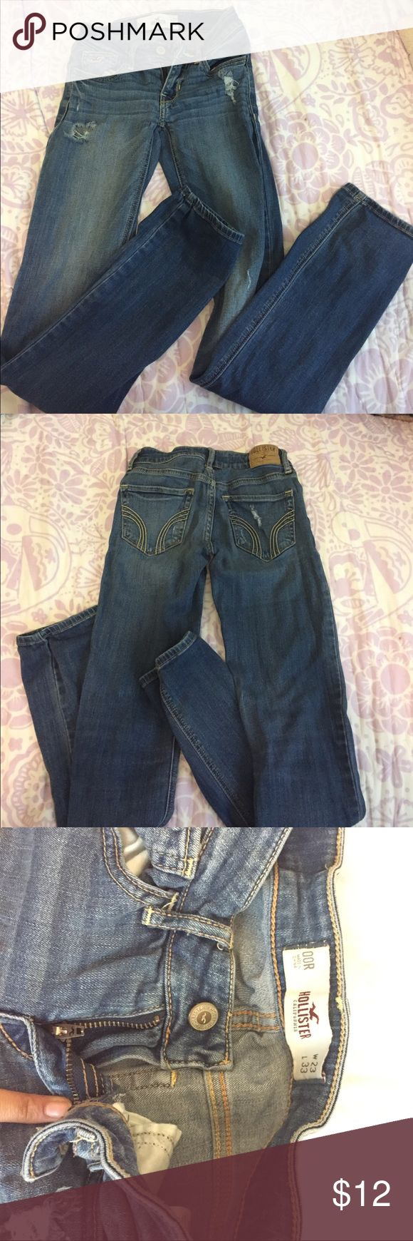 Mid-dark blue ripped jeans hollister size 23 Darkish blue ripped size 23 (00) hollister jeans. Hollister Jeans Skinny