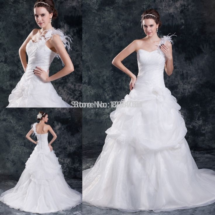 One Shoulder Wedding Dress With Hand Made Flowers Ball Gown Sweetheart Sleeveless Organza Elegant Long 2015 Wedding Gowns TS006