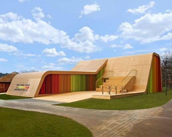 Colorful Spanish Pavilion 1 Spanish Pavilion Design Resembles a Ski Ramp With a Splurge of Color