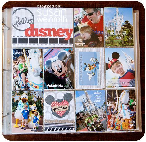 Fun Disney scrapbook page idea - Especially LOVE the white writing directly on the photos for quick journaling/captioning