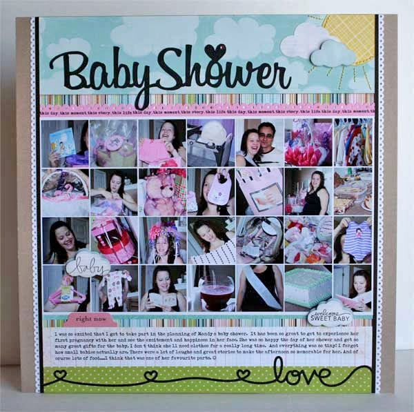 Baby Shower Scrapbook Pages Part - 33: Baby Shower Scrapbook Layout Is Very Cute!