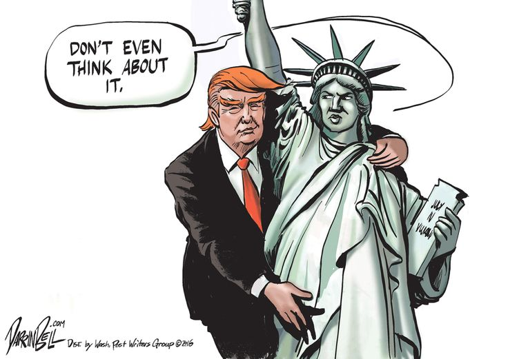 Give us your tired and your poor... but not Donald Trump's gropey little hands.
